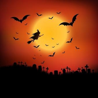 Halloween-landschaft mit hexe, die durch die luft fliegen