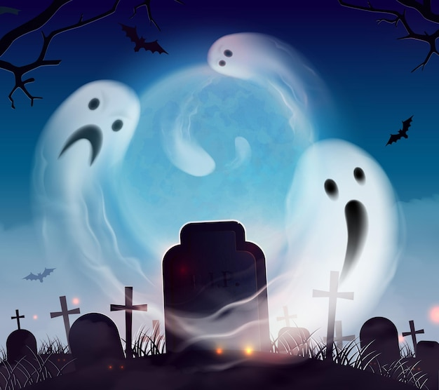Halloween-landschaftslandschaftszusammensetzung des friedhofsgeistes realistische mit den furchtsamen und lustigen gespenstern, die über kirchhof schwimmen