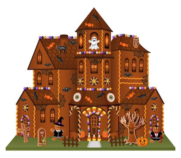 Halloween lebkuchen großes haus mit keksen und süßigkeiten