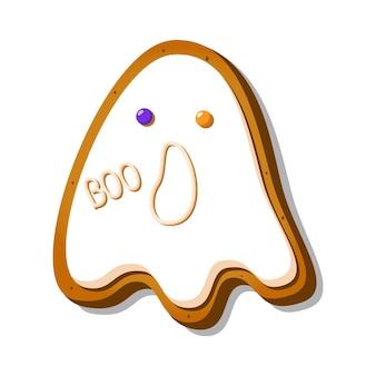 Halloween lebkuchen in form eines gruseligen geistes mit zuckerguss isoliert auf weißem hintergrund f...