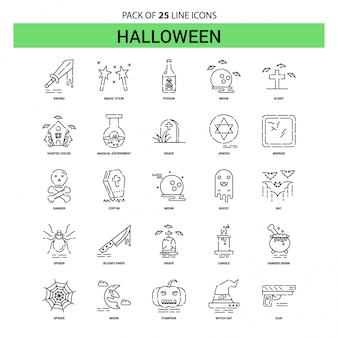 Halloween-linie ikonen-set - 25 gestrichelte entwurfs-art