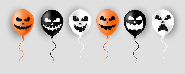 Halloween luftballons. gruselige luft orange, schwarze und weiße luftballons. gruseliges gesicht auf ballon zum verkauf banner oder poster. feiertags-zeichentrickfigur. vektorillustration im flachen stil.
