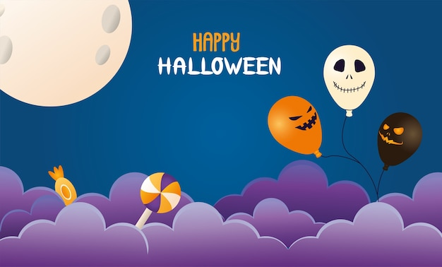 Halloween luftballons helium mit süßigkeiten und mond szene