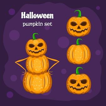 Halloween lustiger charakter, kürbis-schneemann, satz gestaltungselemente, vektor.