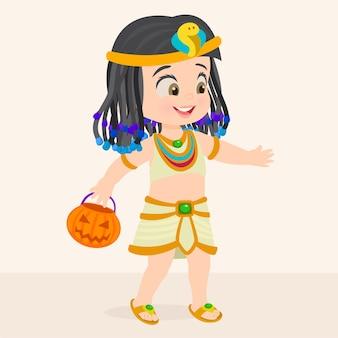 Halloween-mädchen gekleidet als kleopatra