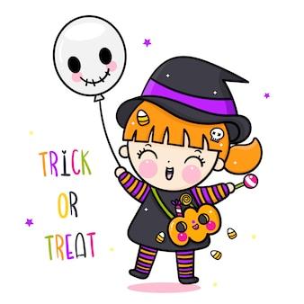 Halloween-mädchenkarikatur mit kürbiseimer und ballon
