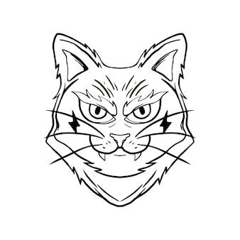Halloween magic cat schwarz-weiß-illustration für thsirt