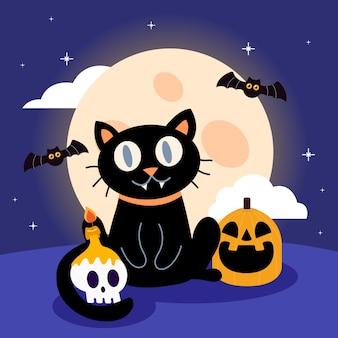 Halloween magische nacht mit katze