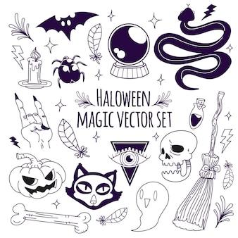 Halloween magischer vektorsatz gekritzel