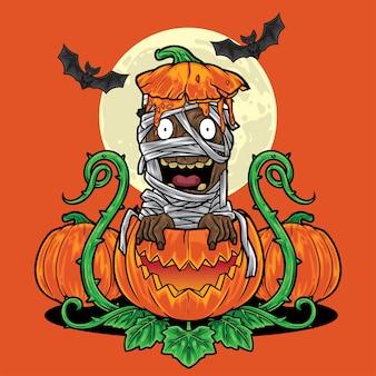 Halloween-mama, die vom kürbishintergrund herauskommt