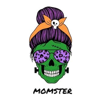 Halloween mama weiblicher totenkopf mit fliegerbrille bandana und totenkopf-print