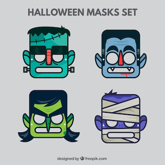 Halloween-masken gesetzt