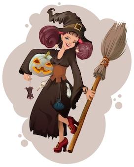 Halloween maskerade. schöne junge frauhexe, die maus hält. cartoon-illustration