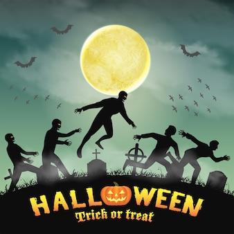 Halloween menschliche flucht vor zombie im friedhof