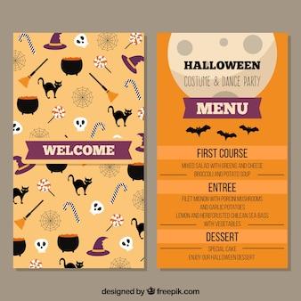 Halloween-menü mit lustigen elementen