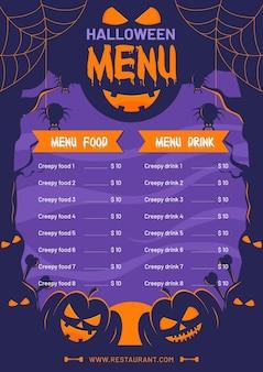 Halloween menü vorlage design