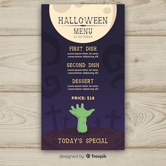 Halloween-menüschablone im flachen design