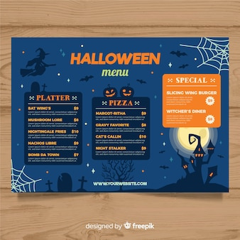 Halloween-menüschablone mit flachem design