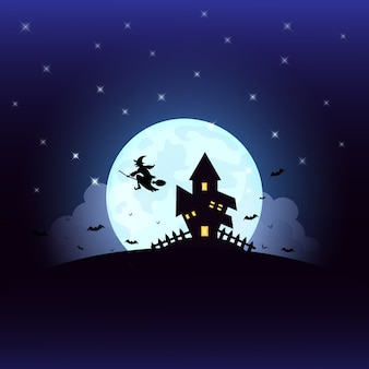 Halloween mit hexe-schattenbildhaus auf dem vollmond.
