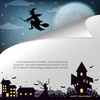 Halloween mit hexenhaus auf dem vollmond.
