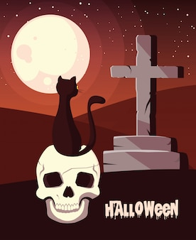 Halloween mit katze im schädel