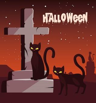 Halloween mit katzen auf dem friedhof