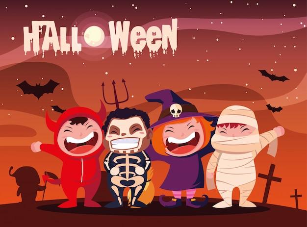 Halloween mit kindern verkleidet
