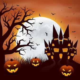 Halloween mit kürbisen und castel auf rot