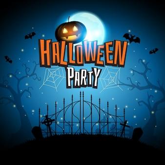 Halloween mit kürbisschlägern fliegen herum auf hintergrund des blauen mondes im kirchhof, vektorillust