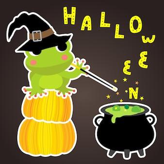 Halloween mit magischem frosch