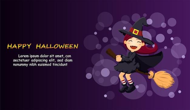 Halloween mit niedlicher hexe auf hintergrund.