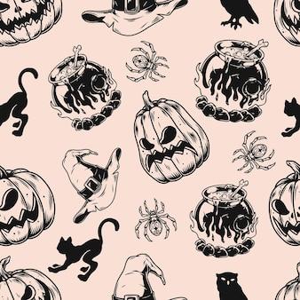 Halloween monochromes nahtloses muster mit gruseligen kürbissen, spinnen, katzen, eule, hexenhüten und kesseln mit zaubertrank im vintage-stil, vektorgrafiken