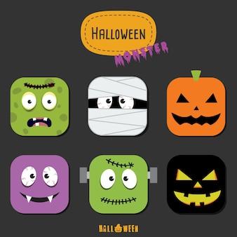 Halloween-monster bunte icon-set flache design vektor-illustration halloween-design-vorlage für grußkarte, werbung, poster, flyer, blog, artikel, social media, marketing.