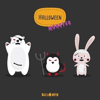 Halloween-monster bunte icon-set flache design vektor-illustration halloween-design-vorlage für grußkarte, werbung, werbung, poster, flyer, blog, artikel, social media, marketing.
