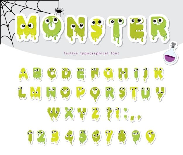 Halloween monster papier ausgeschnitten schriftart für kinder.