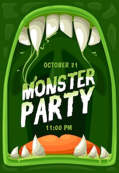 Halloween-monster-party-vektorplakat mit rahmen aus horror-zombie-mund, kiefern mit gruseligen zähnen, reißzähnen, zunge und grünen schleimtropfen. horror-nachturlaub süßes oder saures partyeinladungs-flyer-design