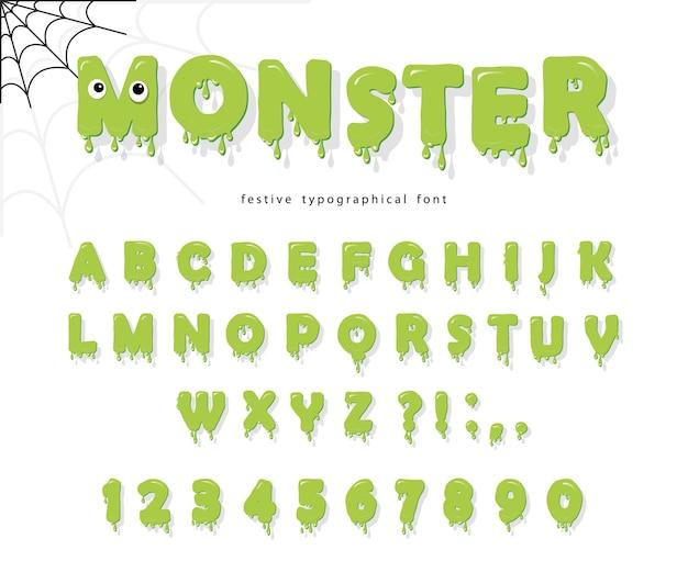 Halloween monster schriftart für kinder.