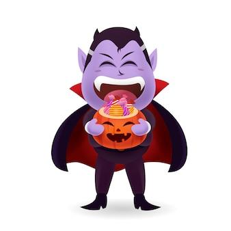 Halloween-monster und geist costume_cute dracula, der halloween-kürbiseimer süßigkeit mit lokalisiert trägt