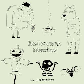 Halloween-monster zeichnung sammlung