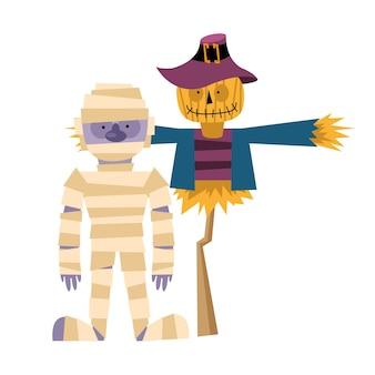 Halloween-mumienkarikatur, frohe feiertage und unheimlich