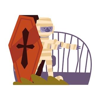 Halloween-mumienkarikatur im sarg, frohe feiertage und unheimlich
