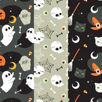 Halloween-muster im flachen design