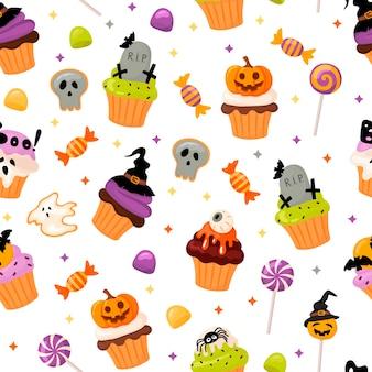 Halloween-muster mit cupcakes und süßigkeiten im cartoon-stil