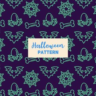 Halloween-muster mit einem schläger, einem knochen, einer spinne und einem netz.