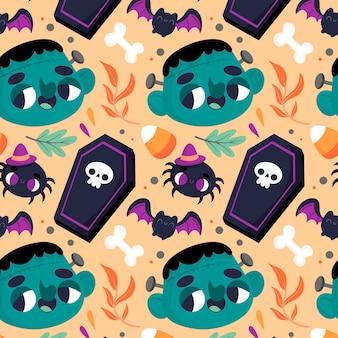 Halloween-muster mit gruseligen elementen