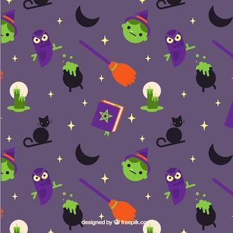 Halloween-muster mit hexe elemente