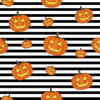 Halloween-muster mit kürbissen, farbvektorillustration