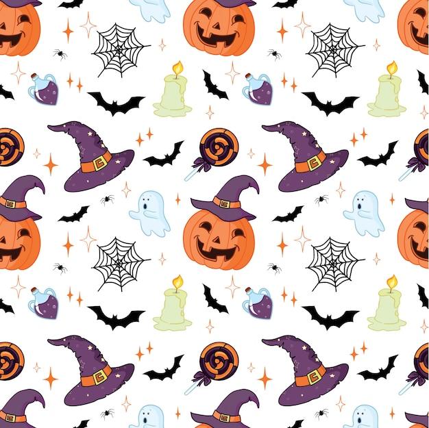 Halloween-muster mit orange kürbissen und fledermäusen auf weiß