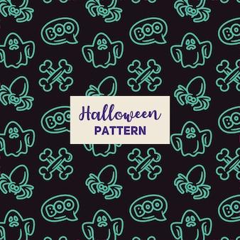 Halloween-muster mit spinne, einem geist und einem knochen.