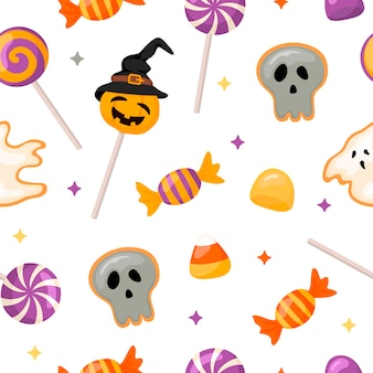 Halloween-muster mit süßigkeiten und keksen. cartoon-stil